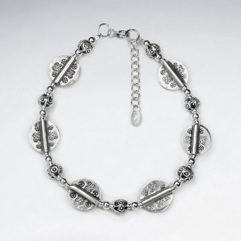"7"" Thai Leaf Pattern Handmade Silver Chain with Clasp"