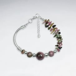 "7"" Tourmaline Bracelet With Curve Silver Tube"