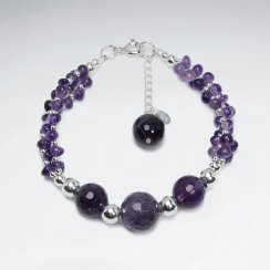 "7"" Triple Round Faceted Amethyst Silver Bracelet"