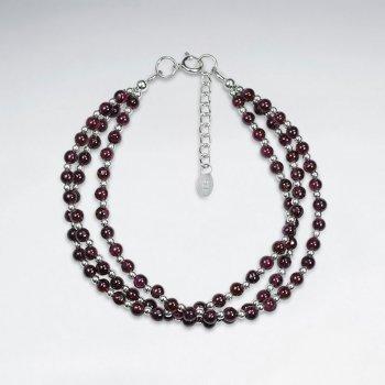 "7"" Triple Strands Round Garnet Silver Bracelet"