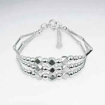 "7"" Triple Strands Thai Hand Made Silver Bracelet With Faceted Silver Beads"
