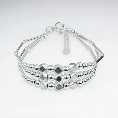"""7"""" Triple Strands Thai Hand Made Silver Bracelet With Faceted Silver Beads"""
