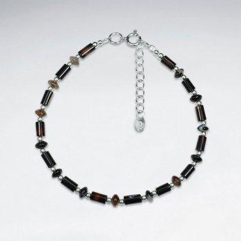 """7"""" Tube Shape Agate Silver Bracelet"""