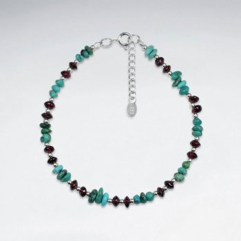 "7"" Turquoise And Garnet Silver Bracelet"