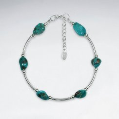 "7"" Turquoise Bracelet With Curve Silver Tube"