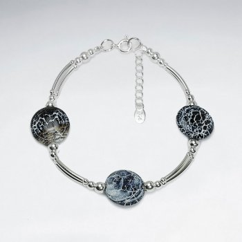 "7"" Weathering Agate Disk Bracelet With Silver Tube"