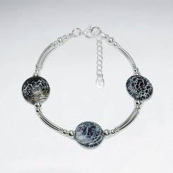 """7"""" Weathering Agate Disk Bracelet With Silver Tube"""