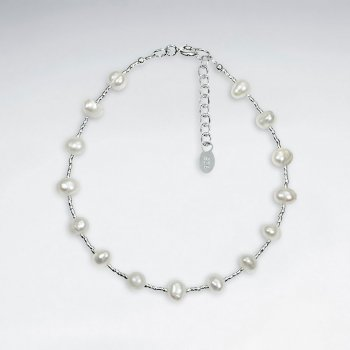 "7"" White Pearl Silver Bracelet"