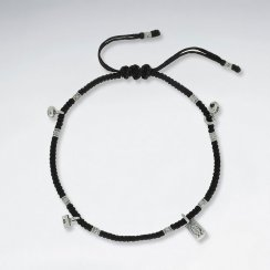 "9"" Adjustable Black Macrame Waxed Cotton Anklet With Antique Fish Rectangle Silver Charm"