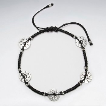 "9"" Adjustable Black Macrame Waxed Cotton Anklet With Antique Open Circle Silver Charm"