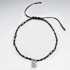 "9"" Adjustable Black Macrame Waxed Cotton Anklet  With Antique Rectangle Silver Charm"