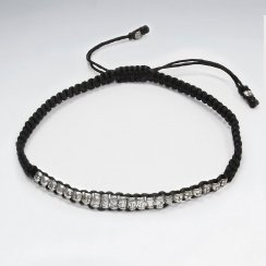 "9"" Adjustable Black Macrame Waxed Cotton Anklet  With Antique Silver Bead"