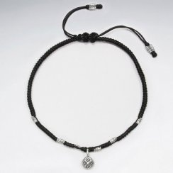 "9"" Adjustable Black Macrame Waxed Cotton Anklet  With Antique Silver Charm"