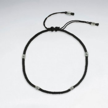 "9"" Adjustable Black Macrame Waxed Cotton Anklet With Antique Silver Tube"