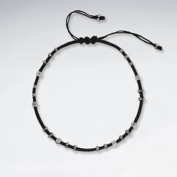 "9"" Adjustable Black Macrame Waxed Cotton Anklet  With Faceted Antique Hand Made Silver Beads"