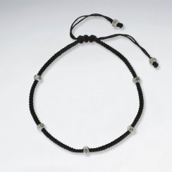 "9"" Adjustable Black Macrame Waxed Cotton Anklet  With Silver Beads"