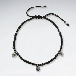 "9"" Adjustable Black Macrame Waxed Cotton Anklet  With Triple Antique Silver Charm"