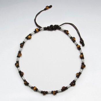 "9"" Adjustable Brown Macrame  Waxed Cotton Anklet With Antique Silver Beads  And  Tiger Eyes Stone"