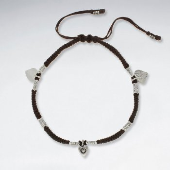"9"" Adjustable Brown Macrame Waxed Cotton Anklet  With Antique Silver  Heart Charm"