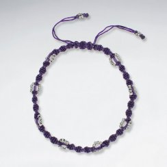 "9"" Adjustable Purple Macrame Waxed Cotton Anklet  With Antique Silver Beads"