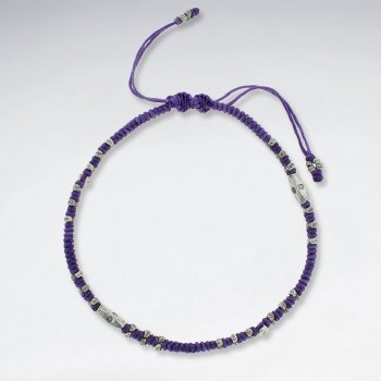 "9"" Adjustable Purple Macrame Waxed Cotton Anklet  With Faceted Antique Silver Beads"
