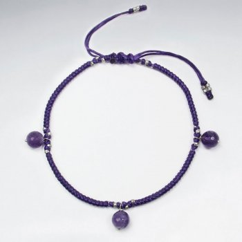 "9"" Adjustable Purple Macrame Waxed Cotton Anklet  With Faceted Dangling Amethyst"