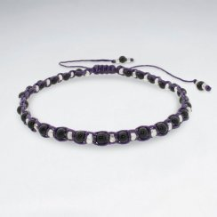 "9"" Adjustable Purple Macrame Waxed Cotton Anklet With  karen Antique Silver Beads And Black Stone"
