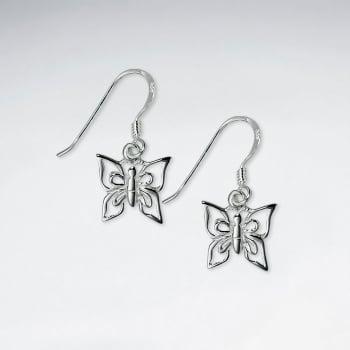 924 Silver Minimal Openwork Butterfly Earrings
