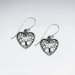925 Oxidized Silver Tree Of Life Heart Earrings