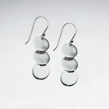 925 Silver Circle Disc Cascadng Dangle Earrings