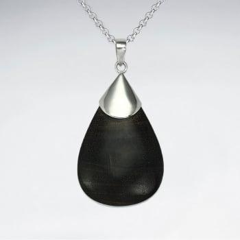 925 Silver Dark Wood Teardrop Pendant