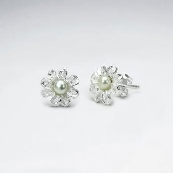 925 Silver Delicate Flower Pearl Stud Earrings
