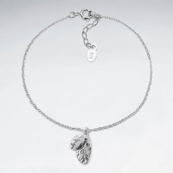 925 Silver Detailed Feathers Charm Bracelet