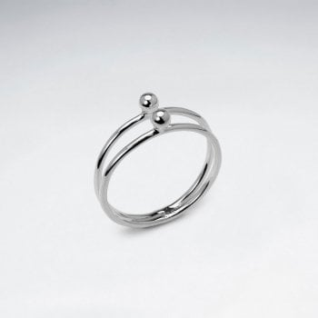 925 Silver Double Ball Ring