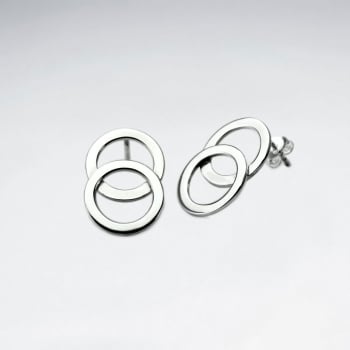 925 Silver Double Openwork Circle Stud Earrings