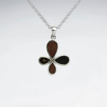 925 Silver Floral Wood Pendant