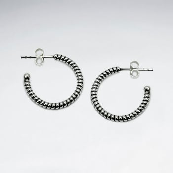 925 Silver Half Hoop Ridged Earrings