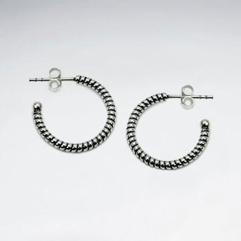 925 Silver Half Hoop Ridged Earrings