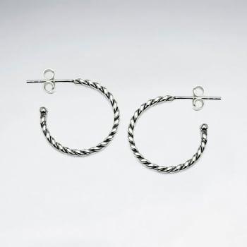 925 Silver Half Hoop Twist Earrings