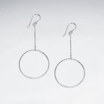 925 Silver Hoop Drop Dangle Earrings