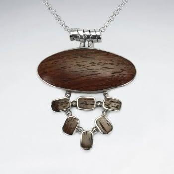 925 Silver Horizontal Oval Drop Wood Pendant