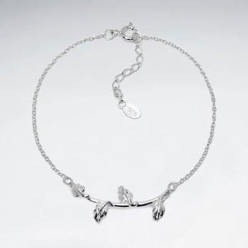925 Silver Leaf Branch Bracelet
