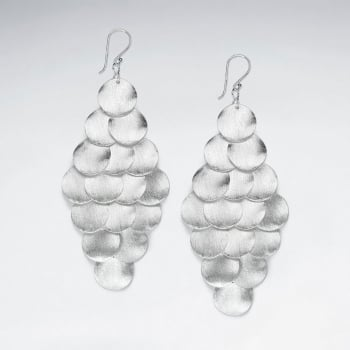 925 Silver Marquis Cascade Dangle Statement Charm Earrings