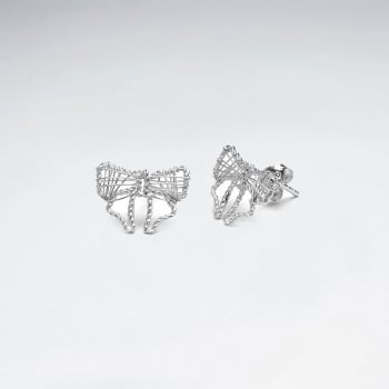 925 Silver Openwork Bow Stud Earrings
