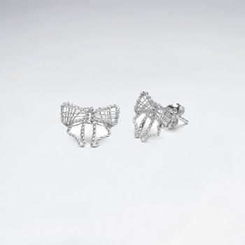 925 Silver Openwork Bow Stud Earrings