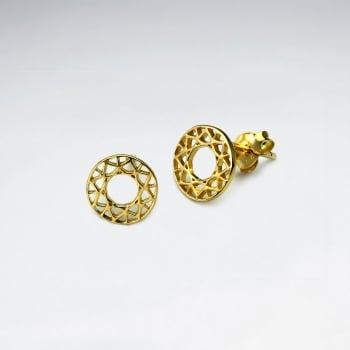925 Silver Openwork Circle Filigree Stud Earrings