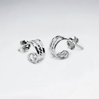 925 Silver Openwork Curled Half Hoop Stud Earrings