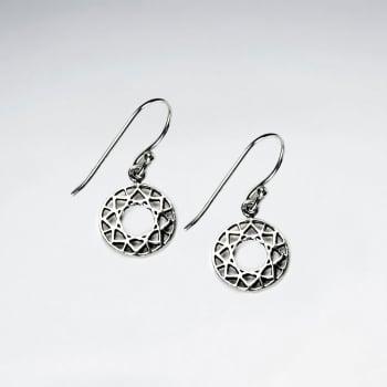 925 Silver Openwork Filigree Style Circle Disc Hook Earrings