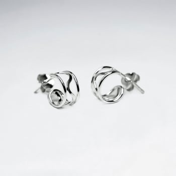 925 Silver Openwork Mini Half Hoop Wavy Earrings
