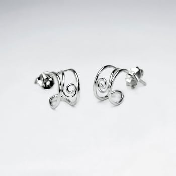 925 Silver Openwork Scrolled Half Hoop Stud Earrings